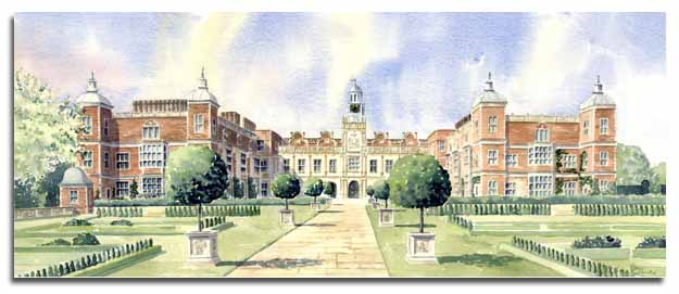 Limited Edition print of watercolour painting of Hatfield House,  by artist Lesley Olver