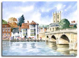Original watercolour painting of Henley, by artist Lesley Olver