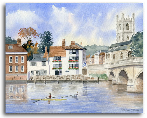 Original watercolour painting of Henley by artist Lesley Olver