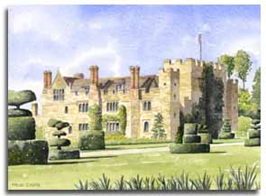 Print of watercolour painting of Hever Castle, by artist Lesley Olver