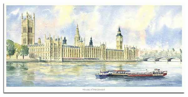 Limited Edition Print of watercolour painting of The Houses of Parliament, by artist Lesley Olver