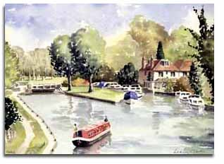 Print of watercolour painting of Hurley, by artist Lesley Olver