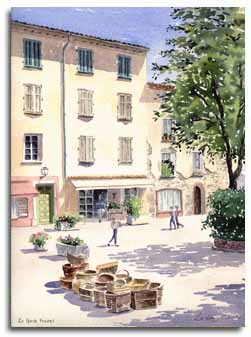 Print of watercolour painting of La Garde Freinet, France, by artist Lesley Olver