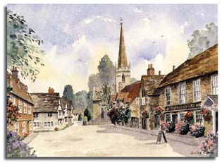 Print of watercolour painting of Lacock, by artist Lesley Olver