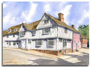 Print of watercolour painting of Lavenheam, by artist Lesley Olver