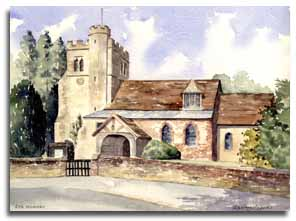 Original watercolour painting of Little Missenden Church, by artist Lesley Olver