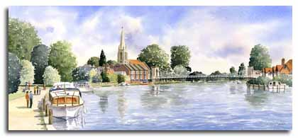 Original watercolour painting of Marlow, by artist Lesley Olver