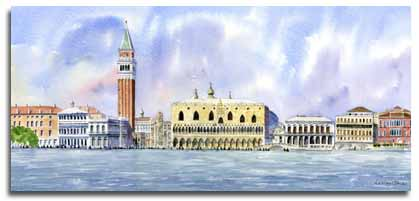 Print of original watercolour painting of Venice, by artist Lesley Olver