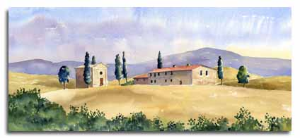 Original watercolour painting of Tuscany, by artist lesley Olver