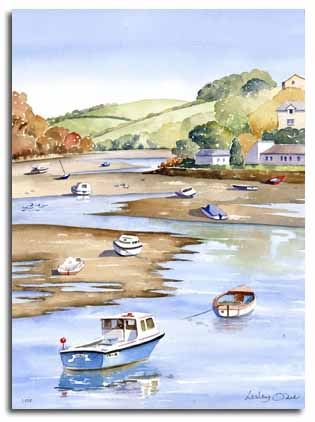 Original watercolour painting of Looe, by artist Lesley Olver