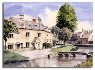 Print of watercolour painting of Lower Slaughter, by artist Lesley Olver