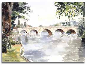 Print of watercolour painting of Maidenhead Bridge, by artist Lesley Olver