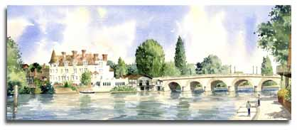 Limited Edition Print of watercolour painting of Maidenhead, by artist Lesley Olver