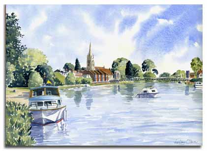Print of watercolour painting of Marlow by artist Lesley Olver