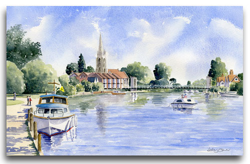 Original watercolour painting of Marlow by artist Lesley Olver