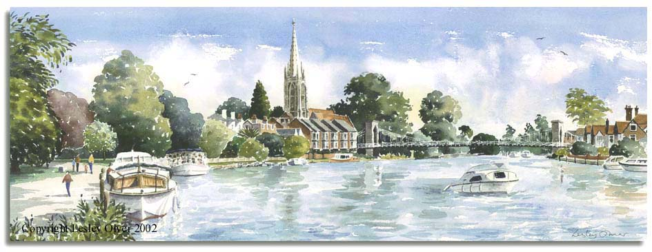 Limited Edition Print of watercolour painting of Marlow, Bucks, by artist Lesley Olver