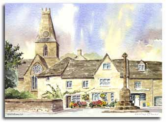 Print of watercolour painting of Minchinhampton, by artist Lesley Olver