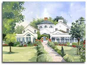 Print of watercolour painting of Monkey Island Hotel, Bray, by artist Lesley Olver