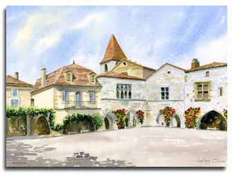 Original watercolour painting of Monpazier, by artist Lesley Olver
