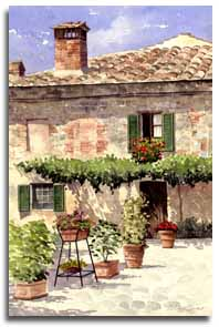 Original watercolour painting of Montereggioni, by artist Lesley Olver