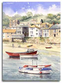 Original watercolour painting of Mousehole, Cornwall, by artist Lesley Olver