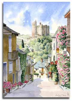 Original watercolour painting of Najac, by artist Lesley Olver