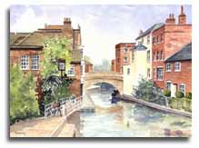 Print of watercolour painting of Newbury, by artist Lesley Olver