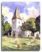 Print of watercolour painting of Old Windsor Church, by artist Lesley Olver