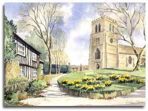 Print of watercolour painting of Old Hatfield Church, by artist Lesley Olver