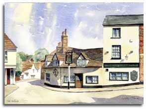Print of watercolour painting of Old Hatfield, by artist Lesley Olver