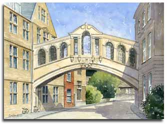 Original watercolour painting of Oxford, by artist Lesley Olver