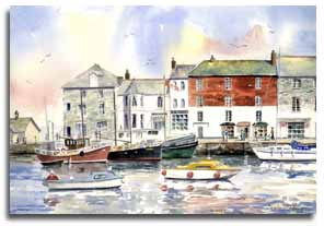 Print of watercolour painting of Padstow, by artist Lesley Olver