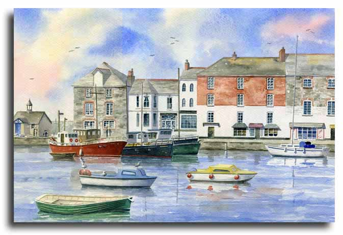 Original watercolour painting of Padstow, by artist Lesley Olver