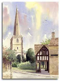 Print of watercolour painting of Painswick, by artist Lesley Olver