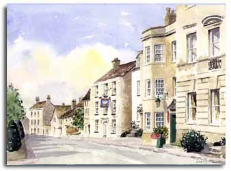 Original watercolour painting of Painswick, by artist Lesley Olver