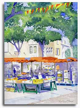 Original watercolour painting of Pamiers market, by artist Lesley Olver
