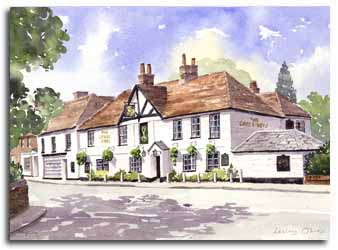 Print of watercolour painting of Pangbourne, by artist Lesley Olver