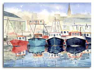 Print of watercolour painting of Plymouth, by artist Lesley Olver