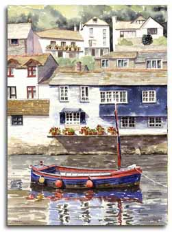 Print of watercolour painting of Polperro, by artist Lesley Olver