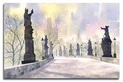 Print of watercolour painting of Prague, by artist Lesley Olver