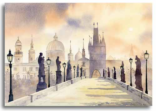 Original watercolour painting of Prague by artist Lesley Olver