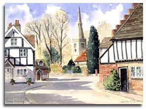 Print of watercolour painting of Princes Risboroughby artist Lesley Olver