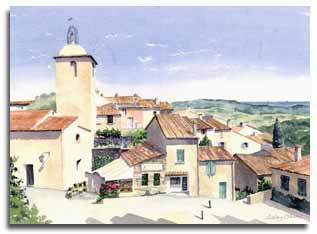 Print of watercolour painting of Ramatuelle, France, by artist Lesley Olver