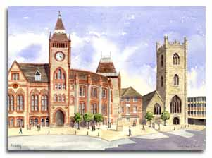 Print of watercolour painting of Reading, by artist Lesley Olver