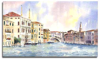 Print of warecolour painting of The Rialto Bridge, by artist Lesley Olver