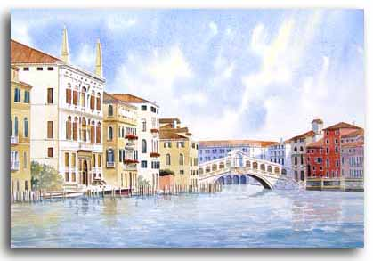 Original watercolour painting of the Rialto Bridge, Venice, by artist Lesley Olver