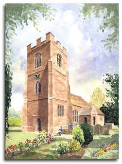 Print of watercolour painting of Ruscombe Church, by artist Lesley Olver