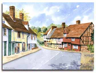 Print of watercolour of Saffron Walden, by artist Lesley Olver