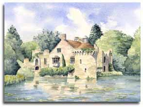 Print of watercolour painting of Scotney Castle, by artist Lesley Olver