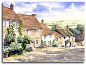 Original watercolour painting of Shaftesbury, by artist Lesley Olver